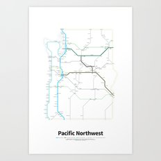 Highways of the USA – Pacific Northwest Art Print