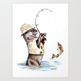 """ Natures Fisherman "" fishing river otter with trout Art Print"