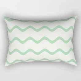 Pastel Green Soft Rippled Horizontal Line Pattern on Linen White 2020 Color of the Year Neo Mint Rectangular Pillow