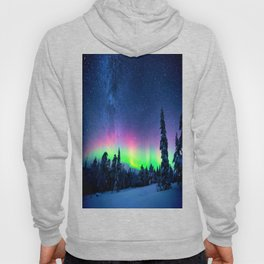 Aurora Borealis Over Wintry Mountains Hoody