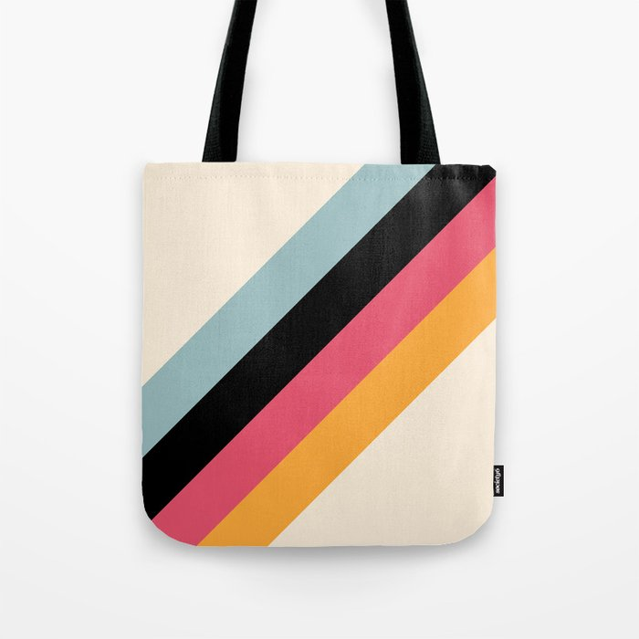 Hariasa - Classic Colorful Abstract Minimal Retro 70s Style Stripes Design Tote Bag