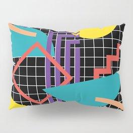 Memphis Pattern - 80s Retro Black Pillow Sham