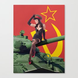 """Sovietsky by Land"" - The Playful Pinup - Russian Tank Pin-up Girl by Maxwell H. Johnson Canvas Print"