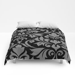 Flourish Damask Art I Gray on Black Comforters