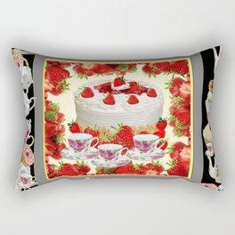 STRAWBERRY CAKE TEA PARTY TEA POTS COMPOSITION Rectangular Pillow