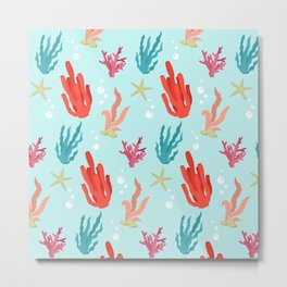 Colorful Pattern with Corals Metal Print