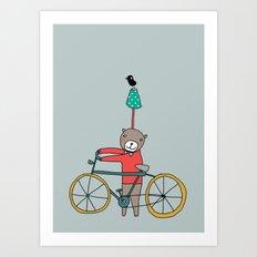 Biker Bear Art Print