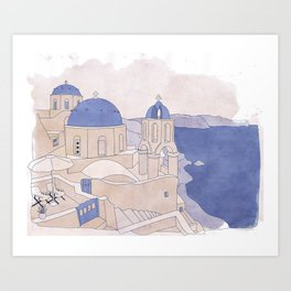 Santorini, the Greek jewel of Aegean Sea sepia Art Print