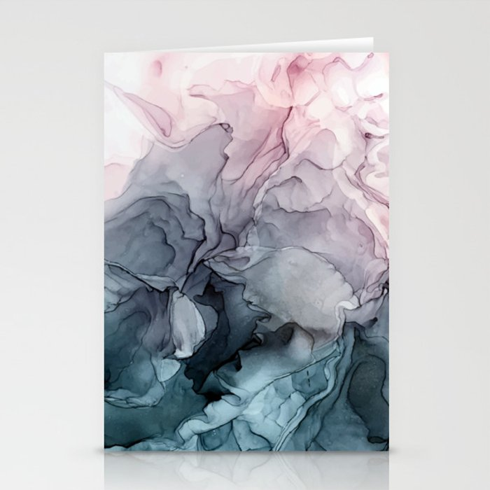 Blush and Payne's Grey Flowing Abstract Painting Stationery Cards