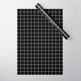 Square Grid Black Wrapping Paper