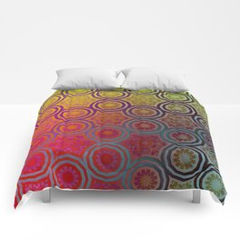 Pink, Purple, Yellow, and Orange Circles and Cogs Comforters