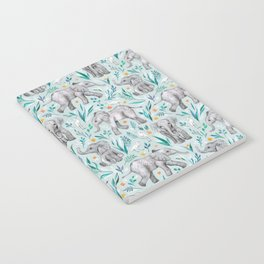 Baby Elephants and Egrets in Watercolor - egg shell blue Notebook