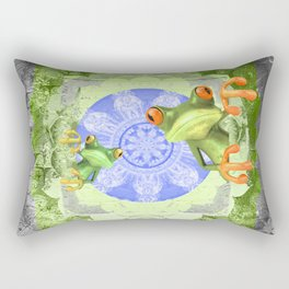 Trippy Texture Tree Frog Boho Mandala Rectangular Pillow