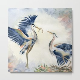 Great Blue Heron Couple Metal Print