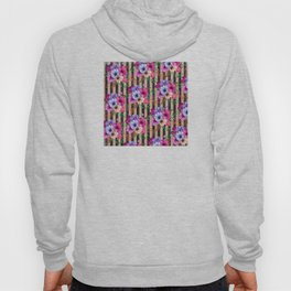 Fragrant Floral Bouquets on Striped Pattern Hoody