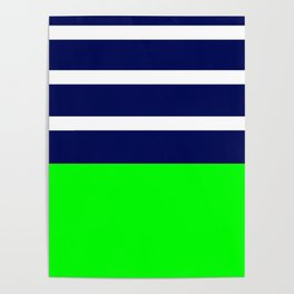 Summer Patio Perfect, Green, White, Navy Poster