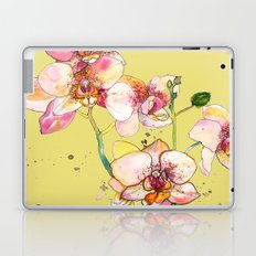Pink Orchids in Yellow Laptop & iPad Skin