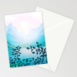 Fresh morning over the mountain lake Stationery Cards