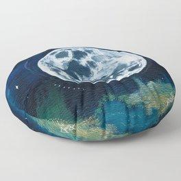 Full Moon Mixed Media Painting Floor Pillow
