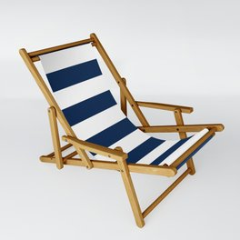 Slate Blue and White Stripes  - Navy Nautical Pattern Sling Chair