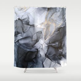 Calm but Dramatic Light Monochromatic Black & Grey Abstract Shower Curtain