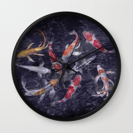 Koi Fish Painting Wall Clock