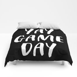 Yay Game Day Football Sports Team White Text Comforters