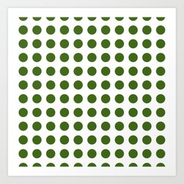 Simply Polka Dots in Jungle Green Art Print