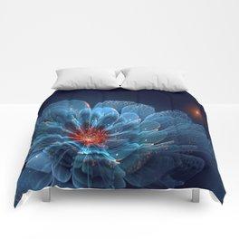 3D Blue Flower V2 Comforters