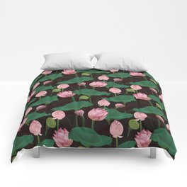 Moody lotus flowers Comforters