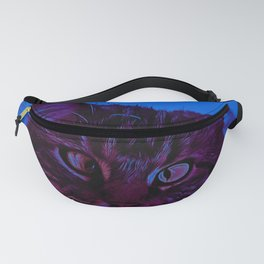 squinting maine coon cat vector art night from day Fanny Pack
