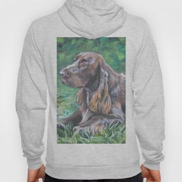 Field Spaniel dog portrait from an original painting by L.A.Shepard Hoody