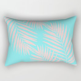 Abstract modern pink Tropical Exotic Palm Leaves on aqua Rectangular Pillow