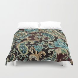 Brown Turquoise Paisley Duvet Cover