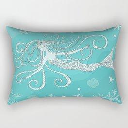 mermaid in blue water Rectangular Pillow