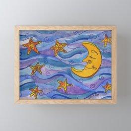 Moon and Stars Framed Mini Art Print