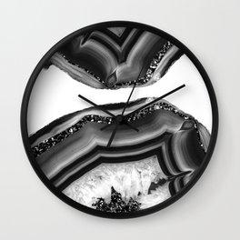 Gray Black White Agate with Black Silver Glitter #1 #gem #decor #art #society6 Wall Clock