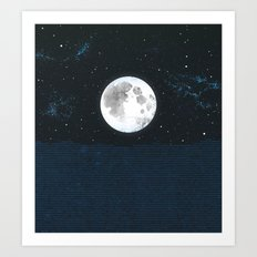 Blue Moonscape Art Print