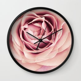 My Heart is Safe with You, My Friend - pale pink rose macro Wall Clock