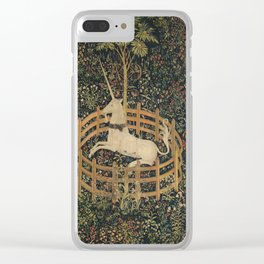 The Unicorn in Captivity (from the Unicorn Tapestries) Clear iPhone Case