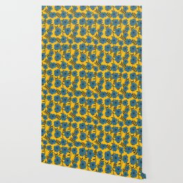 Blue Flowers with Banana Leaves with Yellow Wallpaper