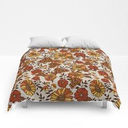 Retro 70s boho hippie orange flower power Comforters