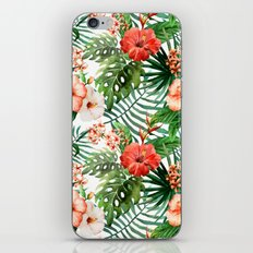 Hibiscus and Palm Leaf Pattern iPhone & iPod Skin