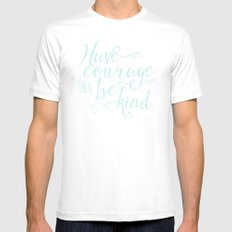 Have Courage and Be Kind (mint colorway) MEDIUM White Mens Fitted Tee