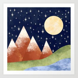 Full Moon In The Mountains Art Print
