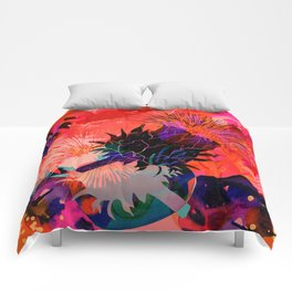 Floral constellation Comforters