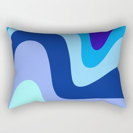 Retro Waves 1 (Blues) Rectangular Pillow