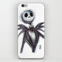 jack skellington iPhone & iPod Skins featuring Jack Skellington scribble by Patricia Pedroso