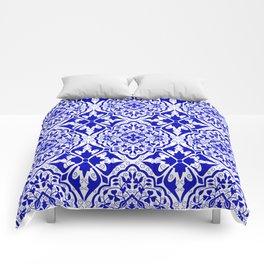 BOHEMIAN PALACE, ORNATE DAMASK: BLUE and WHITE Comforters