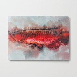 Super Red Arowana Fish Metal Print